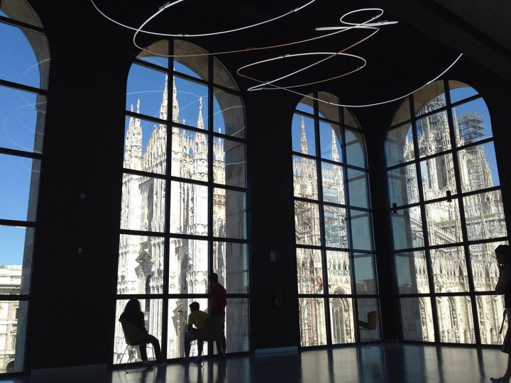 Patrons of Milan's Novecento Modern Art Museum admiring the city's Gothic cathedral. Taken with an iPhone