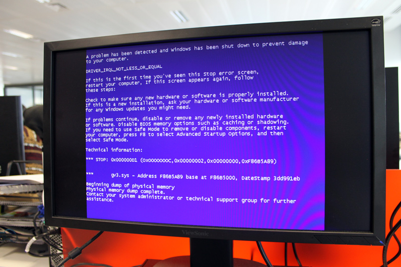 Fake a blue screen of death on your victim's PC