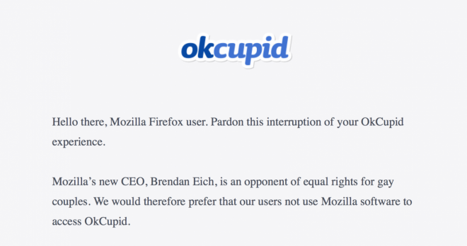 OKCupid Block Firefox Users over Brendan Eich Anti-Gay Stance