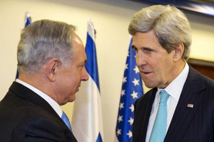 Israeli Prime Minister Benjamin Netanyahu (L) meets with U.S. Secretary of State John Kerry as they meet in Jerusalem