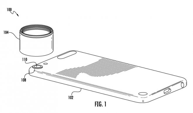 Apple patent for an interchangeable camera lens for the iPhone