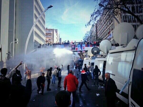 Police using water cannons in Ankara