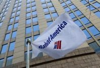 A Bank of America flag is pictured outside the corporate center in Charlotte