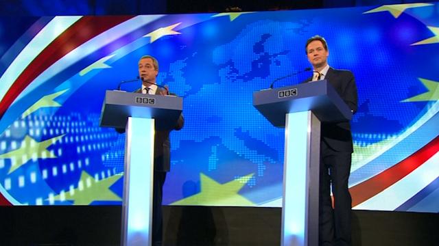 Nick Clegg and Nigel Farage Clash over EU