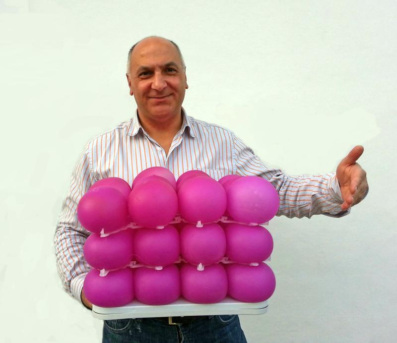 Creator Joe Katan with the air bed cells that make up the mattress