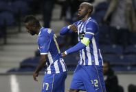 Porto\'s Eliaquim Mangala (R) celebrates his goal against Sevilla with teammate Silvestre Varela during their Europa League quarter-final first leg soccer match at the Dragao stadium in Porto April 3, 2014.