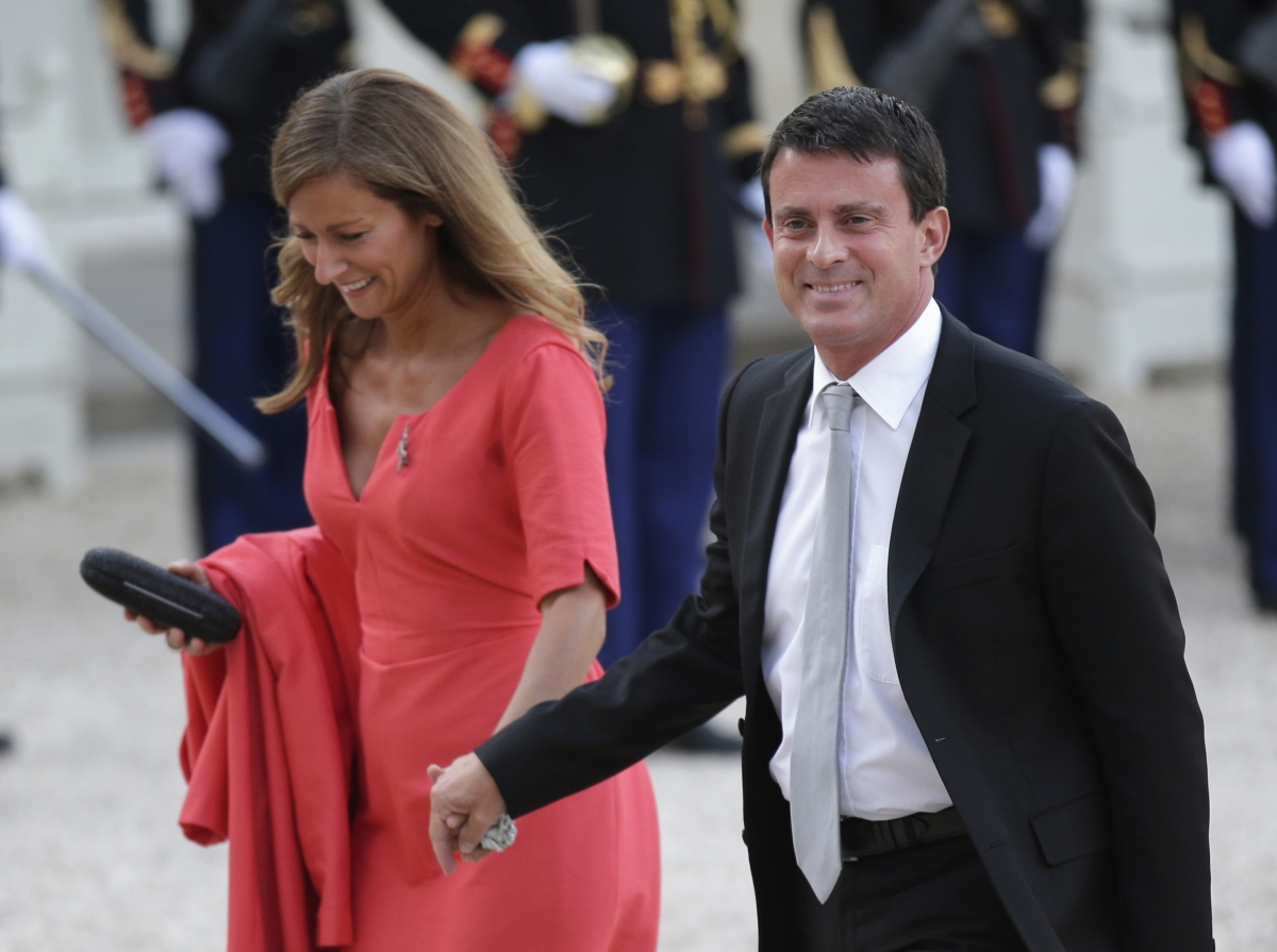 French PM Manuel Valls and his wife Anne Gravoin