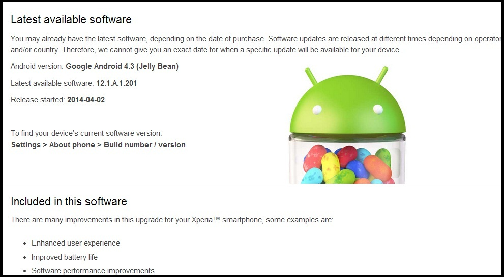Software update page for Sony Xperia SP