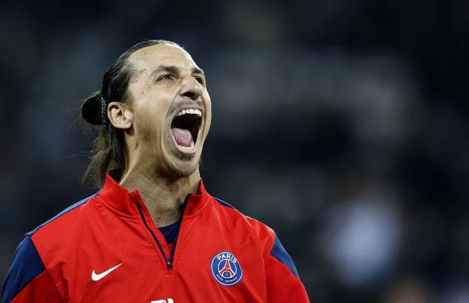Paris Saint Germain's Zlatan Ibrahimovic reacts during the warm up before the French Ligue 1 soccer match against Nice at l'Allianz stadium in Nice March 28, 2014.