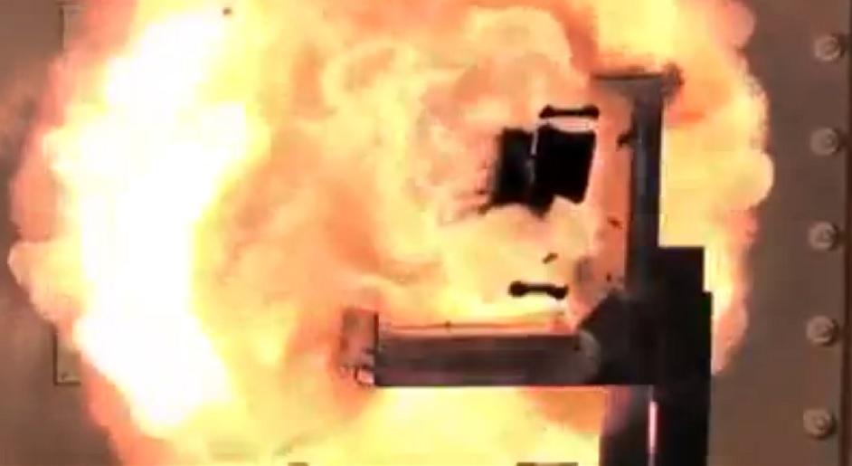 Rail gun explosion
