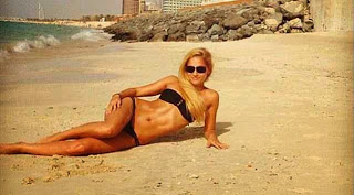 Mayka Kukucova posing in a bikini on a beach, in a display which reveals her own ideas of her appeal
