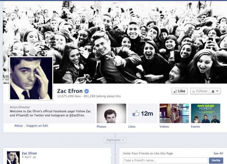 Zac Efron Facebook Page