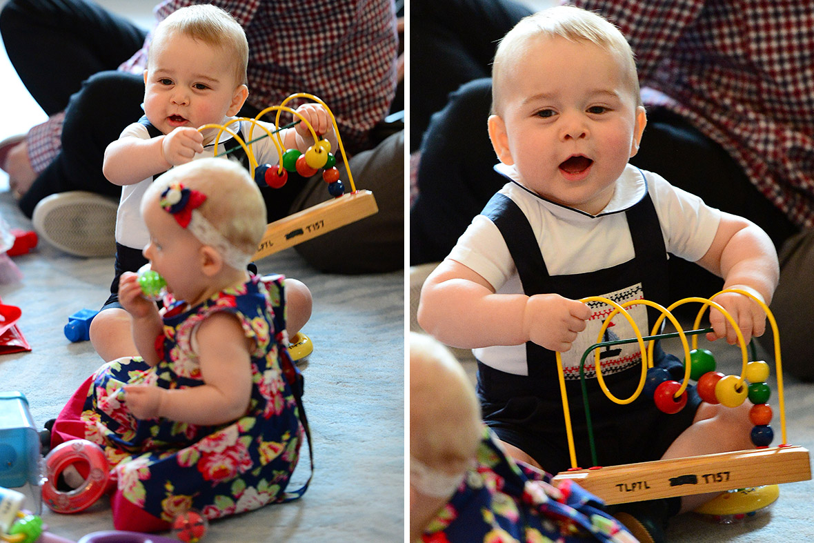 Prince George on his first official royal engagement in Wellington, New Zealand.