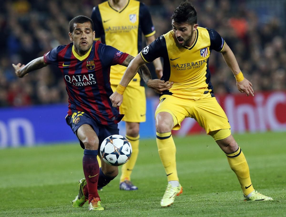 Daniel Alves and David Villa