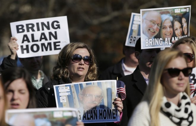 Demonstrators gather during a rally for U.S. detainee Alan Gross in Lafayette Square in Washington