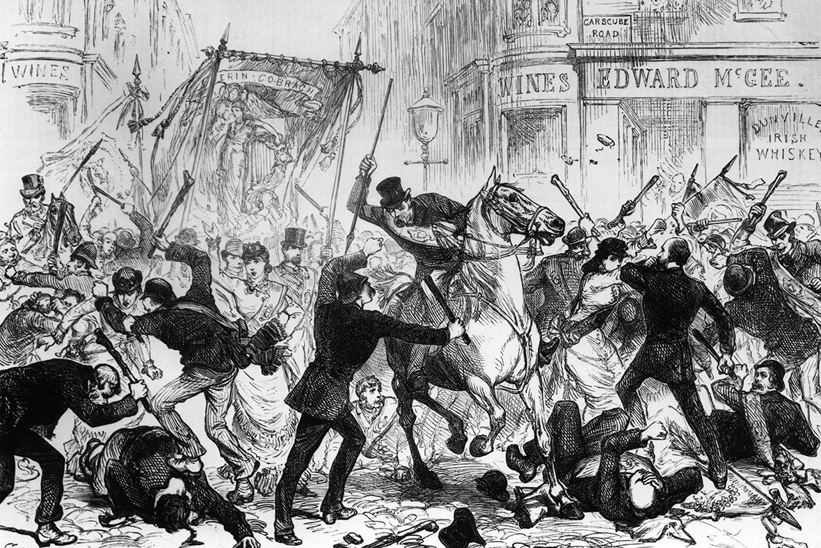 14 August 1880:  Police armed with batons and demonstrators armed with cudgels fight during an Irish Home Rule riot in Glasgow
