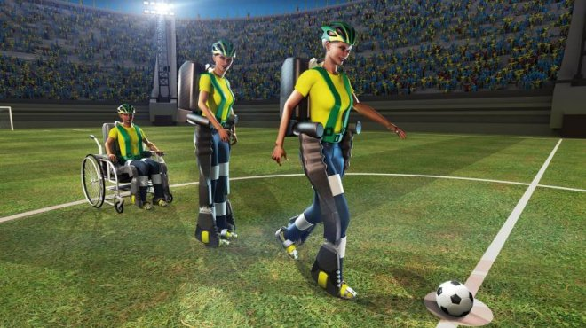 Paraplegics will kick a football at the 2014 World Cup opening ceremony using a new mind-controlled exoskeleton suit