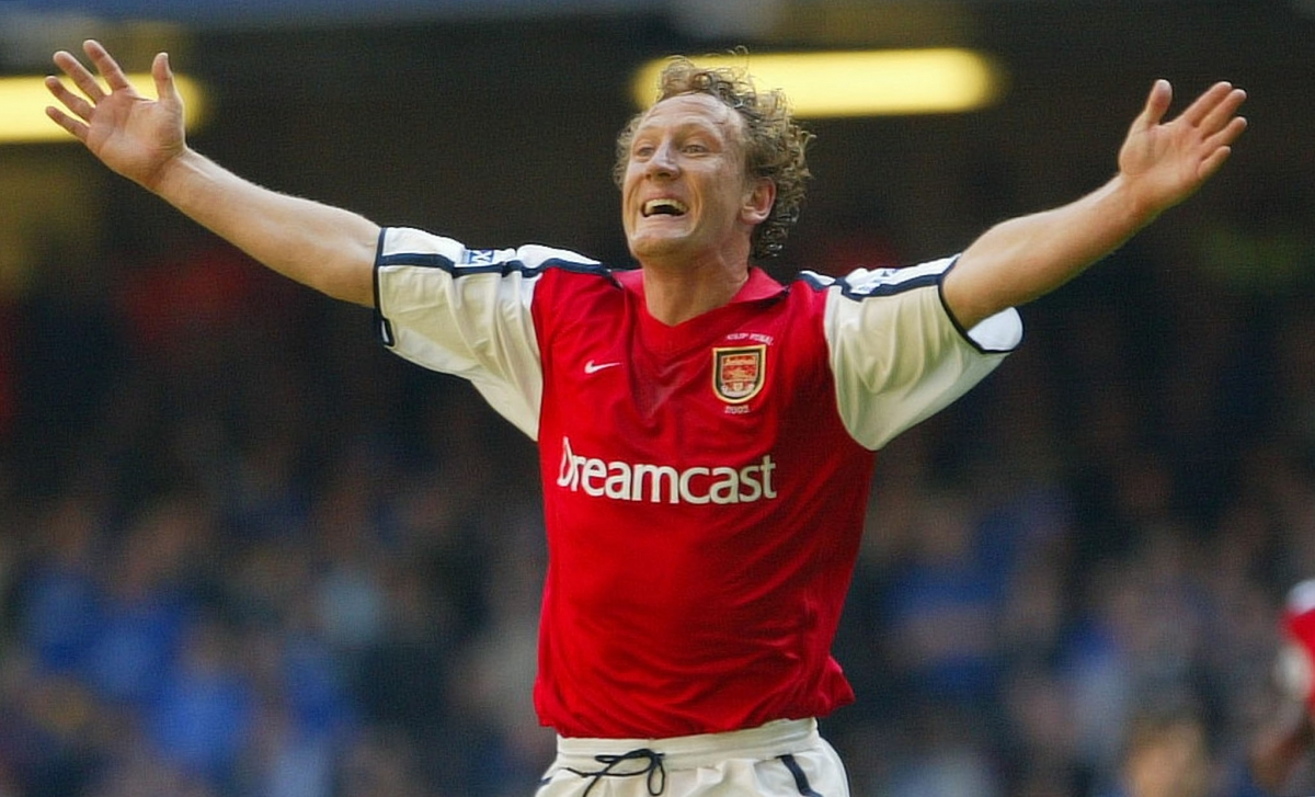 Arsenal's Ray Parlour celebrates after scoring against Chelsea during the 2002 FA Cup Final at the Millennium Stadium in Cardiff, May 4 2002.
