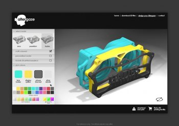 Altergaze interactive website where users can customise goggle designs