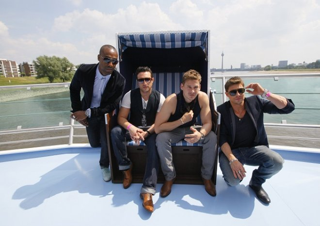 Lee Ryan (second from right) pictured with his Blue band mates.