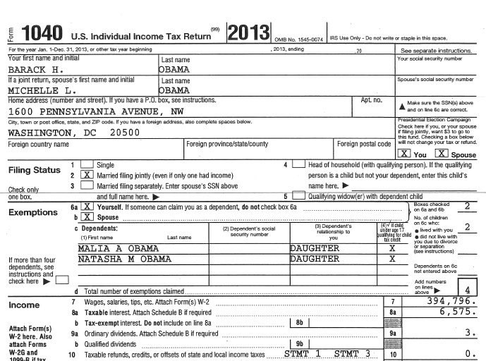 US President Barack Obama's 2013 income tax return, which was released by the White House on Friday.