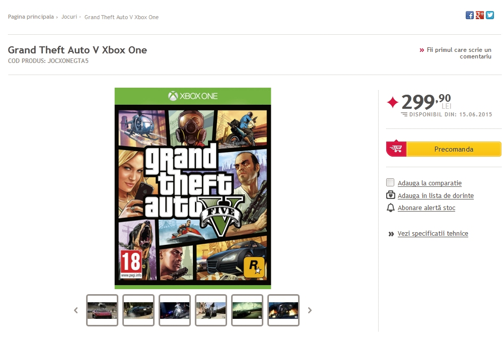 GTA 5: Romanian Retailer Lists Pre-Orders for Xbox One and PS4, June Release Likely