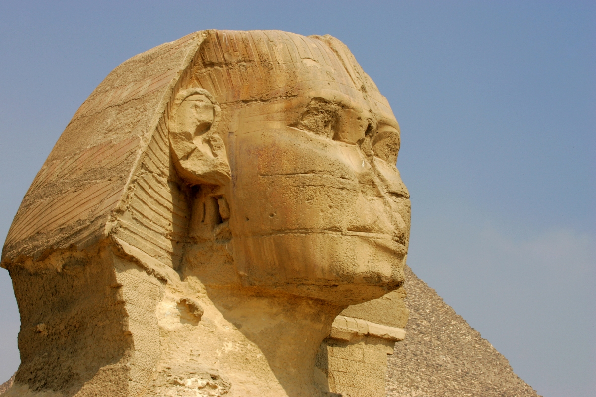 The Great Sphinx of Giza, a large half-human half-lion statue on the Giza Plateau near Cairo