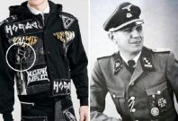 Topman\'s Horace jacket (L) is pictured beside an SS officer wearing a uniform depicting the the odal symbol.