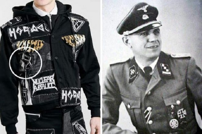 Topman's Horace jacket (L) is pictured beside an SS officer wearing a uniform depicting the the odal symbol.