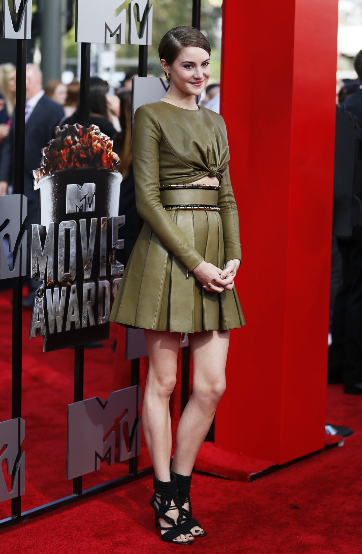 Actress Shailene Woodley arrives at the 2014 MTV Movie Awards in Los Angeles, California.