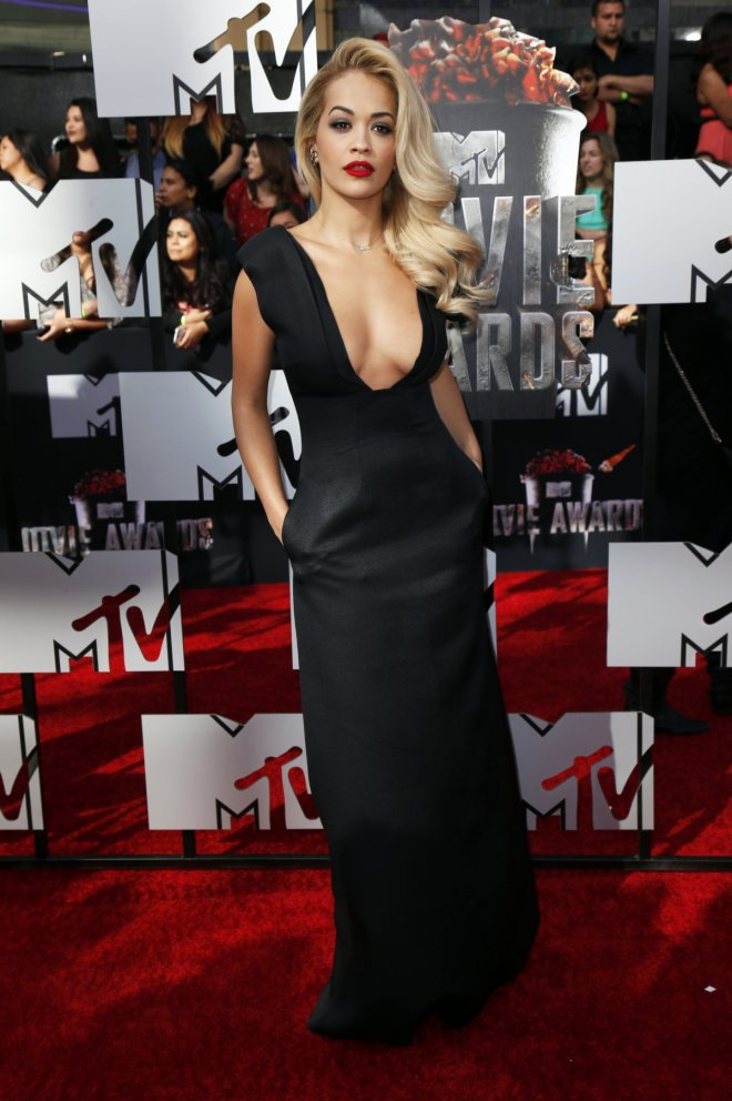 Singer Rita Ora arrives at the 2014 MTV Movie Awards in Los Angeles, California