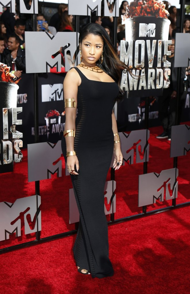 Rapper Nicki Minaj arrives at the 2014 MTV Movie Awards in Los Angeles, California.