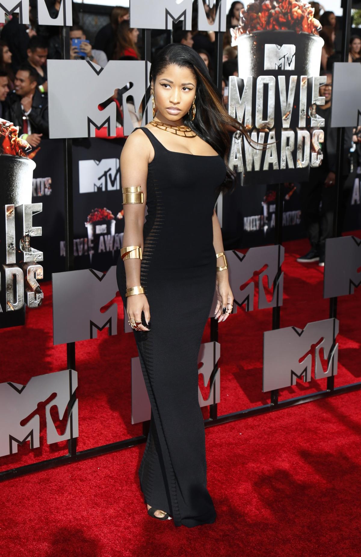 Rapper Nicki Minaj arrives at the 2014 MTV Movie Awards in Los Angeles, California.