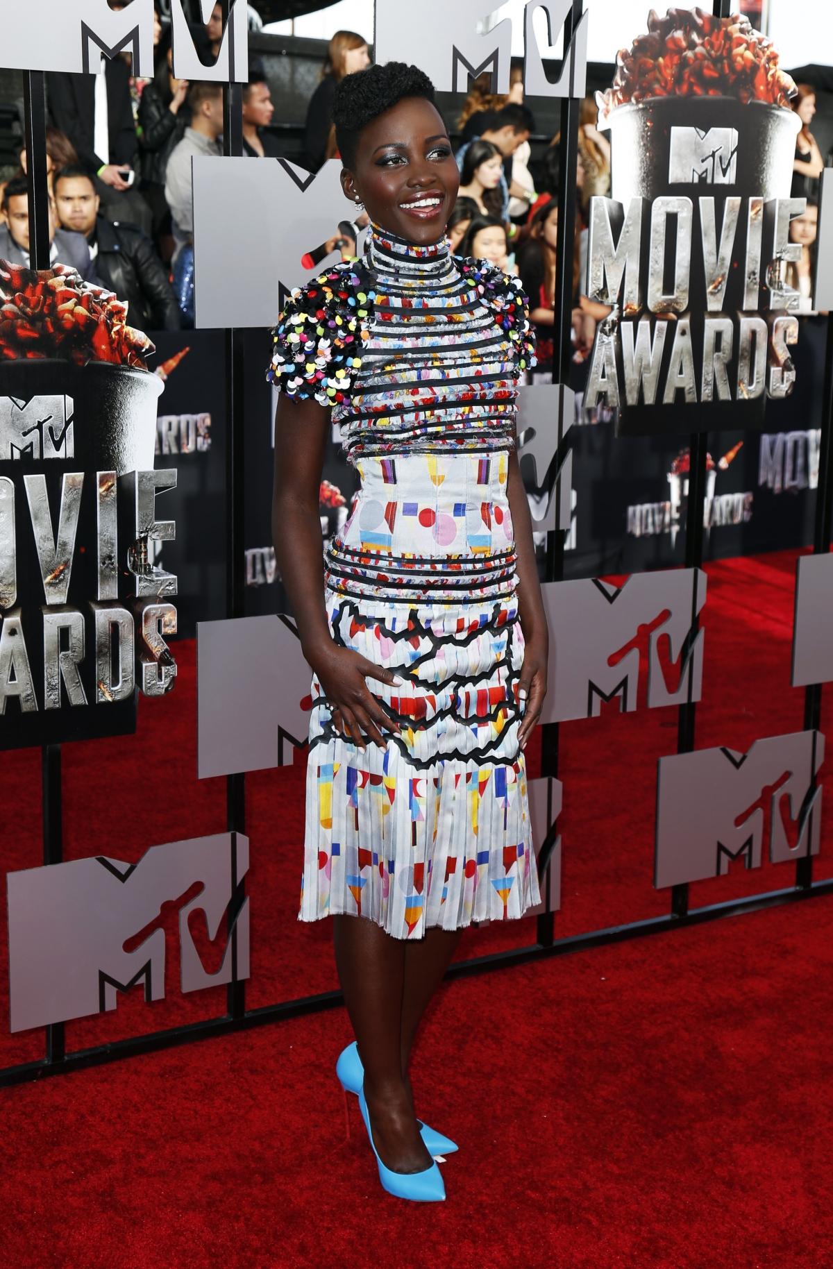 Actress Lupita Nyong'o arrives at the 2014 MTV Movie Awards in Los Angeles, California.