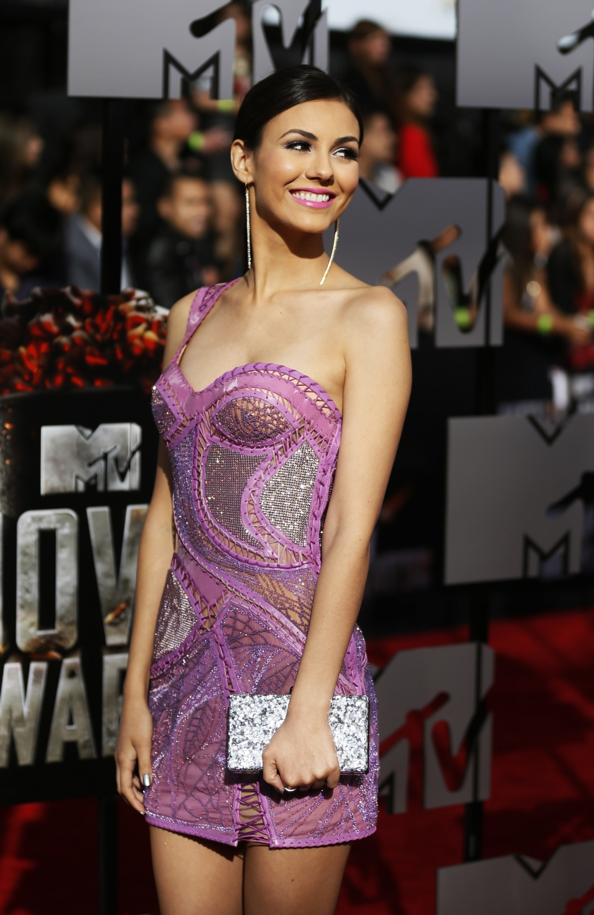 Actress Victoria Justice arrives at the 2014 MTV Movie Awards in Los Angeles, California.