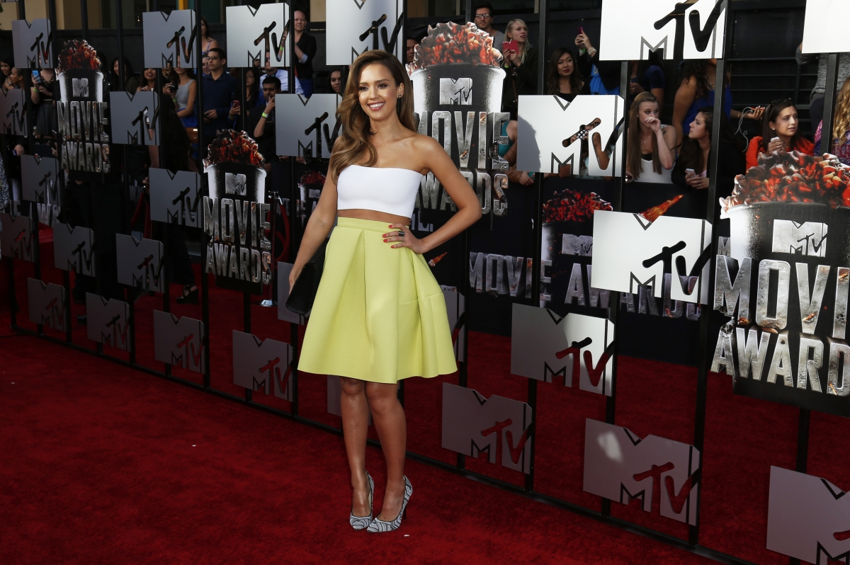 Actress Jessica Alba arrives at the 2014 MTV Movie Awards in Los Angeles, California.