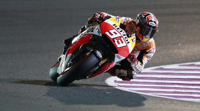 Honda MotoGP rider Marc Marquez of Spain rides his bike during a free practice session at the MotoGP World Championship.