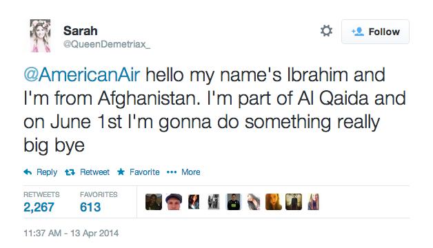American Airlines Terrorist Tweet