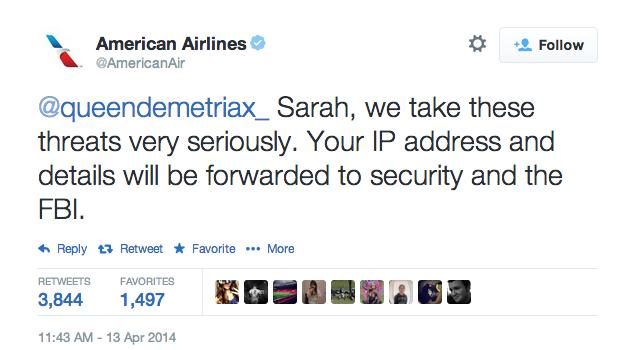 American Airlines Terrorist Tweet Response