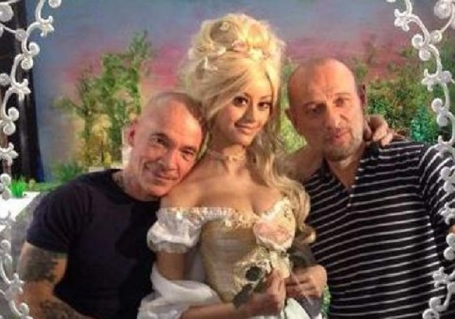 Zahia Dehar dressed as Marie Antoinette, with artist Pierre & Gilles