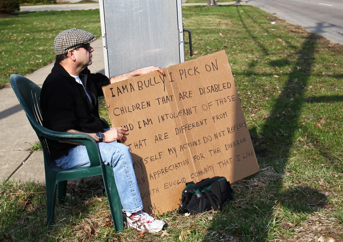 Man Made to Wear 'I Am a Bully' Sign