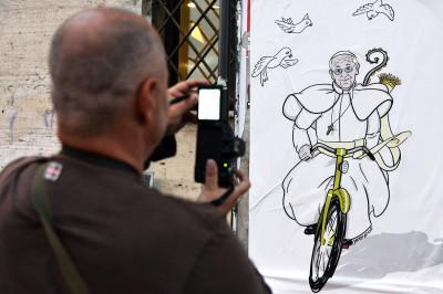 pope on a bike