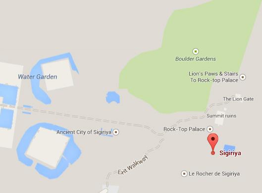 Google Maps of Sigiriya, a UNESCO World Heritage Site in Sri Lanka