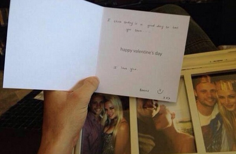 This is the Valentine's Day card Reeva Steenkamp gave to Oscar Pistorius only hours before he shot her dead