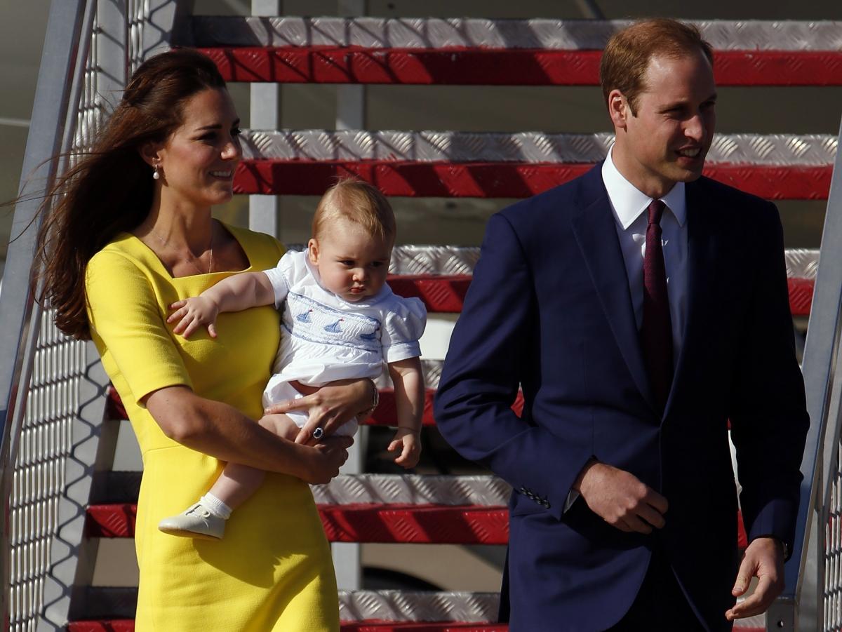 William, Kate and George Arrive in Australia