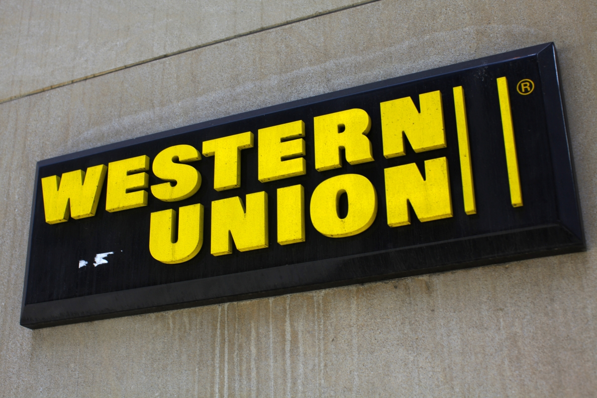A Western Union sign is seen in New York