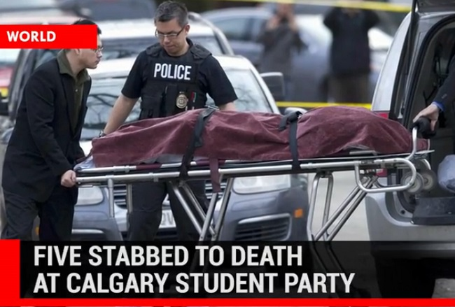 Five stabbed to death at Calgary student party