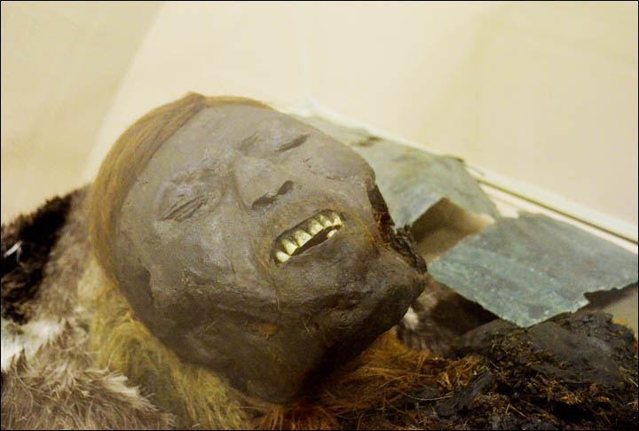 Close-up of the red haired man's mummified face