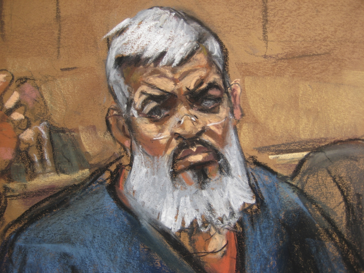 Abu Hamza, also known as Mustafa Kemal Mustafa, at an earlier US court hearing