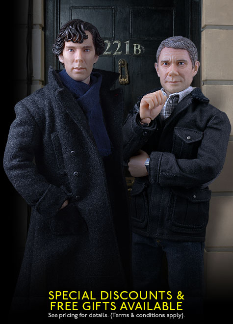 Benedict Cumberbatch and Martin Freeman as Sherlock and Dr Watson Dolls